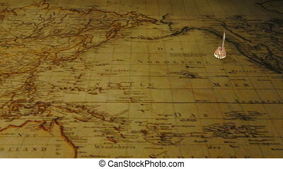 Sailing ship on vintage world map - Small cartoon sailing...