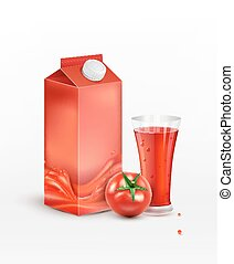 Vector pack of tomato juice with tomato and a glass of juice, isolated on white backgroundblackboard