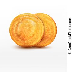 two vector pancake isolated on white background
