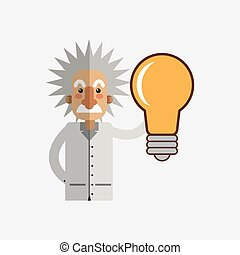 Colorful einstein design over white background - Science...