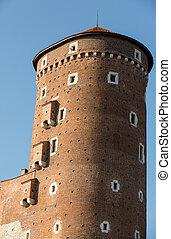 Sandomierska Tower at the Wawel Royal Castle in Krakow,...