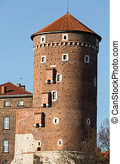 Sandomierska Tower at the Wawel Royal Castle in Krakow,...