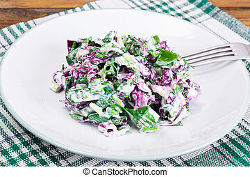 Lettuce, Radicchio and natural low-fat yogurt. Dietary meal