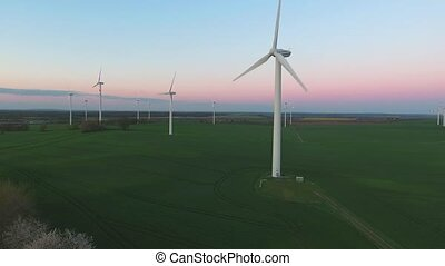 areial view windpark wind power turbine energy evening video