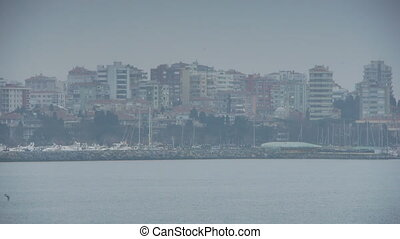 Cloudy coast shore Istanbul nature - Cloudy coast of...