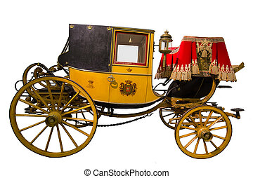 Yellow historic carriage - Smart yellow historic carriage...