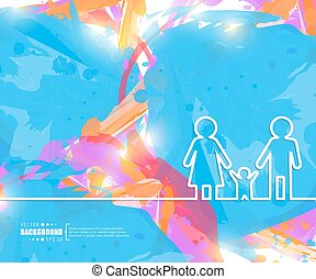 Creative vector family. Art illustration template...