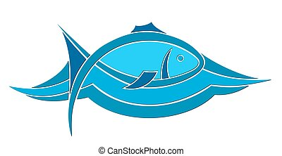 Logo of blue small fish - logo of blue small fish floating...