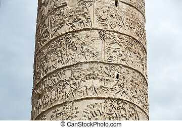 Column of Tajan Roman triumphal column in Rome, Italy,