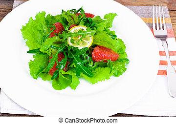 Salad with Mix Batavian, Frise, Radicchio, Chicory, Arugula...