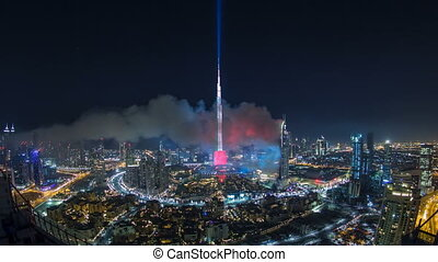 Dubai Burj Khalifa New Year 2016 fireworks celebration...