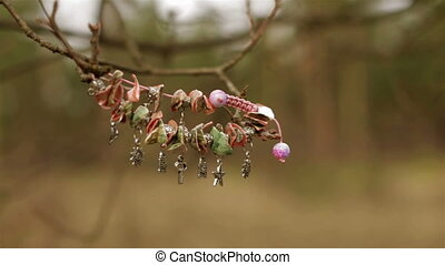 Female bracelet hanging on a tree - Female bracelet sways in...