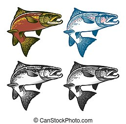 Fishing emblems, labels and design elements. - Salmon Fish -...