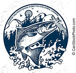 vindima, emblemas, salmão, pesca