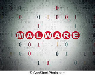 Security concept: Malware on Digital Data Paper background -...