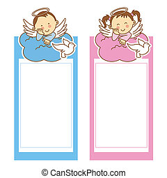 christening girl and boy space for text