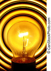 light bulb turned on - a light bulb turned on in a lamp