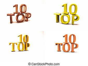 Inscription of Top 10 set of pictures. 3D illustration. -...
