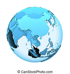 Asia on translucent Earth - Southeast Asia on translucent...