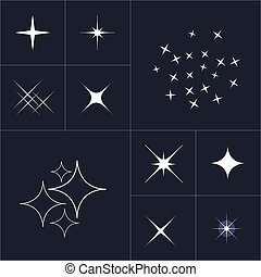 Big collection of sparkle vector. Sparkles white symbols....