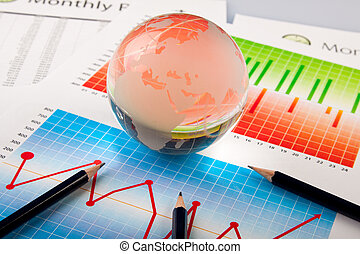world finance statistics - Business office arranged in...