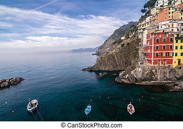 Riomaggiore village of Cinque Terre in Liguria, Italy