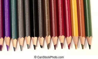 Color pencils a white background