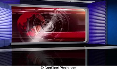 News TV Studio Set -117 - News TV Studio Set 117 - Virtual...