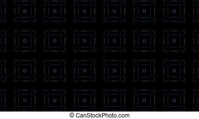 Squares on dark background - Blue squares moving on dark...