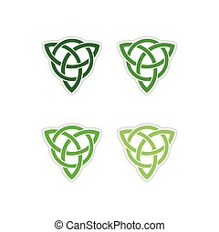 Set of paper stickers on white background celtic symbol -...