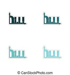 Set of paper stickers on white background infographics water...