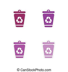 Set of paper stickers on white background dumpster
