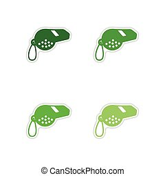 Set of paper stickers on white background whistle - Set of...