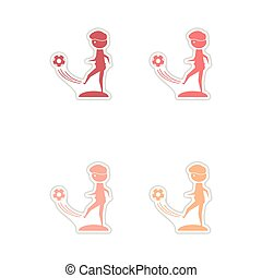 Set of paper stickers on white background football player