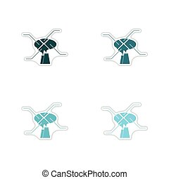 Set of paper stickers on white background infographics air...