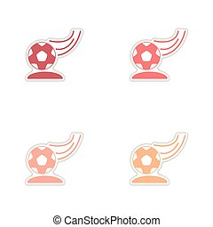 Set of paper stickers on white background soccer ball