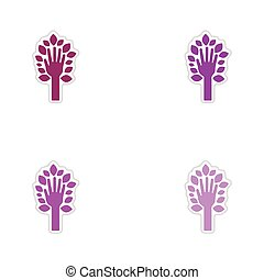 Set of paper stickers on white background leaves hand