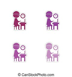 Set of paper stickers on white background office worker