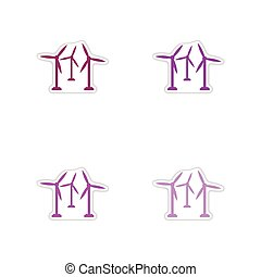 Set of paper stickers on white background wind mill - Set of...