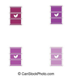 Set of paper stickers on white background iron barrel