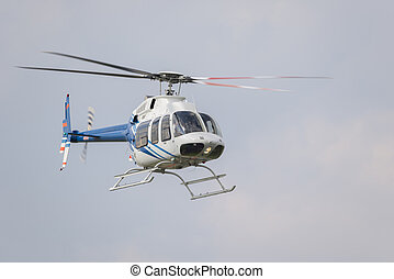 Helicopter in flight right after take-off