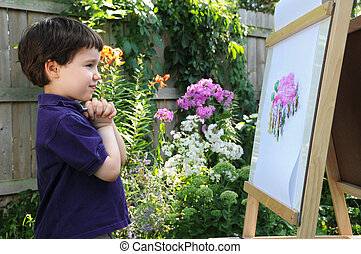 Satisfaction - A little boy admires his painting of a phlox...
