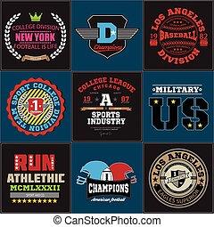 Sport athletic college baseball football logo emblem...
