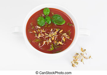 Tomato Soup with Germinated Grain in Plate National Italian...