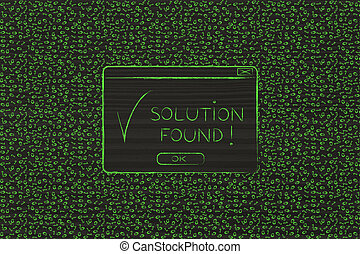 messy binary code and pop-up with Solution Found text -...