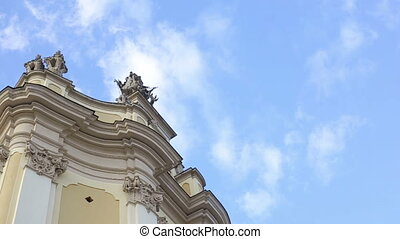 Remarkable view on t. George's Cathedral on the clear blue sky background. A famous baroque-rococo cathedral in the city of Lviv, Ukraine