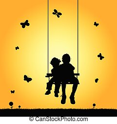 child two on swing silhouette illustration