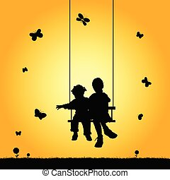 children on swing silhouette illustration