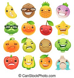 Funny Cartoon Fruits and Vegetables with Different Emotions...