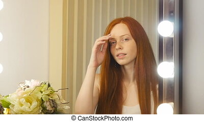 Beautiful redhead girl face - beautiful redhead girl face...